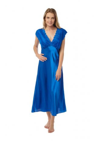Ladies Satin Charmeuse & Lace Built-up Shoulder Nightdress Peacock Blue 10-24